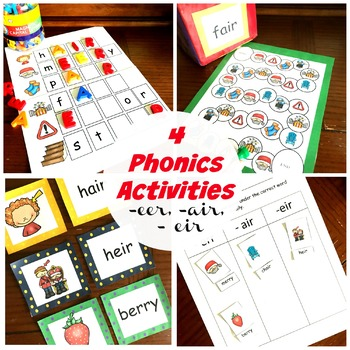 Word Family Game and Activities for -erry, -eir, and - air