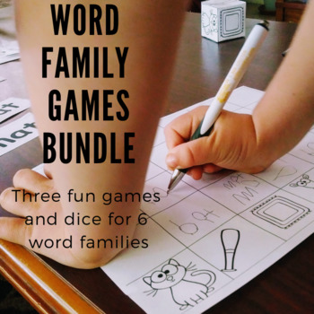 Rhyming Word Family Games BUNDLE of 6! Includes memory game, board game, & more