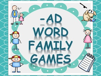 Word Family Games (-ad), includes dice, game board, race b