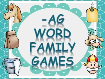 Word Family Games (-ag), includes dice, game board, race board, and memory