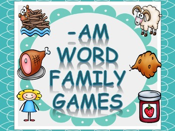 Word Family Games (-am), includes dice, game board, race board, and memory