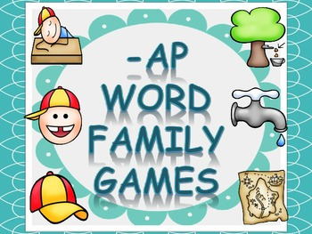 Word Family Games (-ap), includes dice, game board, race b
