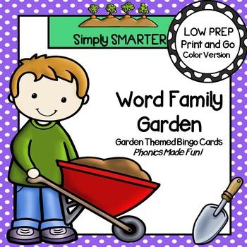Word Family Garden Bingo:  LOW PREP Garden Themed Bingo Cards