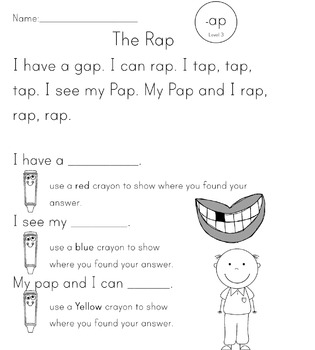 Word Family Guided Reading Stories -at and -ap