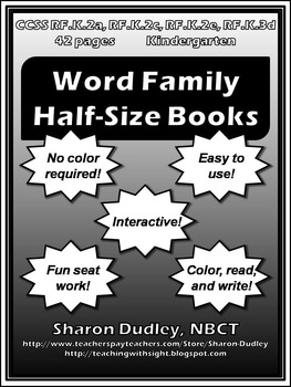 Word Family Half-Size Guided Reading Books