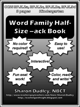 Word Family Half-Size -ack Book