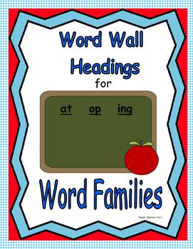 Word Family Headings