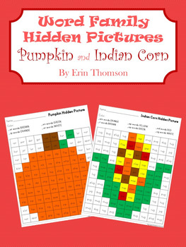 Word Family Hidden Pictures ~ Pumpkin and Indian Corn