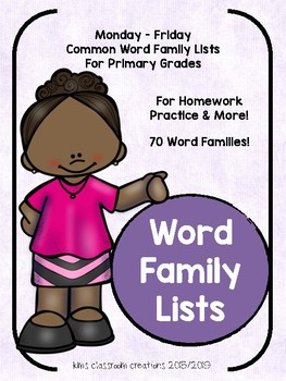 Word Family Homework Lists and More!