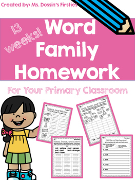 Word Family Homework Pack