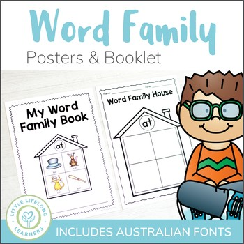 Printable Word Family House Booklet and/or Posters - QLD FONT