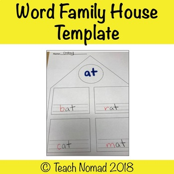 Word Family House Template