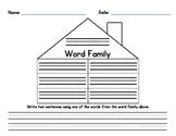 Word Family House Worksheet