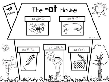 Word Family Houses- Cut & Paste Activities