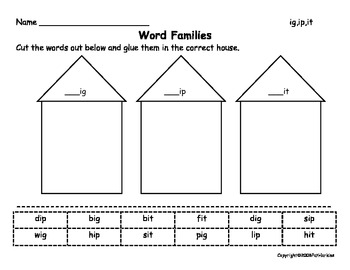 Word Family Houses K-2