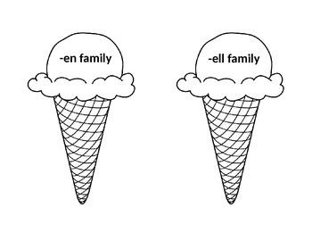 Word Family Ice Cream Books
