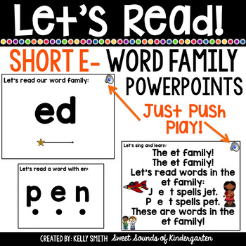 Word Family Interactive Powerpoints- Short E {Let's Read P