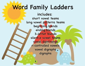 Word Family Ladders- Phonics Skills: Vowels, Blends, and more