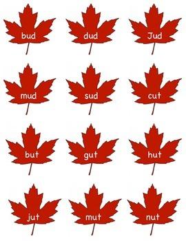 Word Family Leaf Sort -ud, -ut