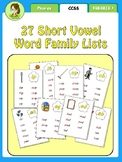 Word Family List Cards (27 word families)