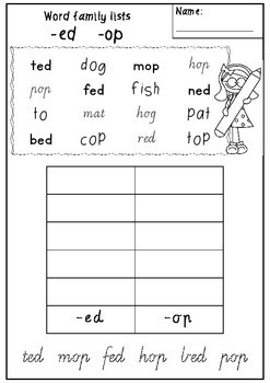 Word Family List Worksheets - Victorian Modern Cursive