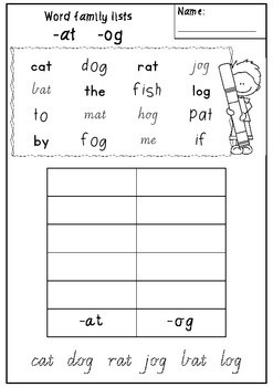 Word Family Sort and Graph worksheets - Victorian Modern Cursive