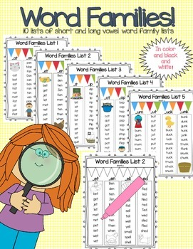 Word Family Lists - Short and Long Vowels *FULL Version*