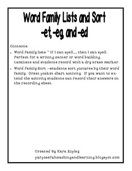 Word Family Lists and Sort for _ed, -eg, and -et