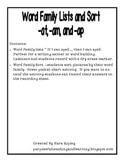 Word Family Lists and Sort for -at, -ap, -am