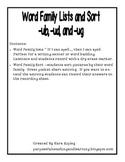Word Family Lists and Sort for -ub,-ud,ug