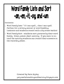 Word Family Lists and Sorts -an, -en, -it, -og, and -um