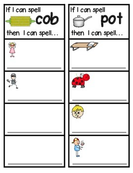 Word Family Lists and Sorts for -ob, -op, and -ot