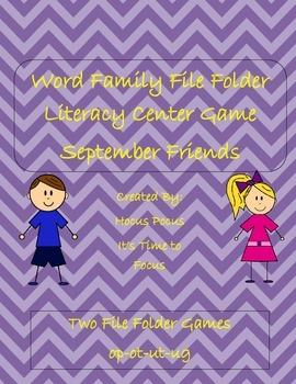 Word Family File Folder Literacy Center September Friends (ot, op, ug, ut)