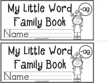 Word Family Little Book -ag Word Family