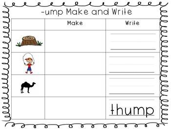 Word Family Make & Write Sheets-- FREE
