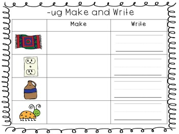 Word Family Make & Write Sheets