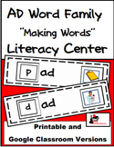 Word Family Making Words Literacy Center - AD Family