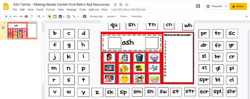 Word Family Making Words Literacy Center - ASH Family