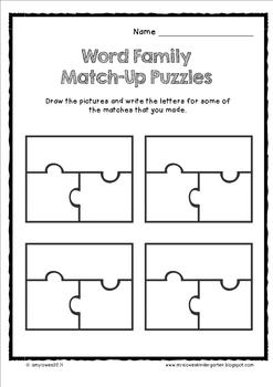 Word Family Match-Up Puzzles