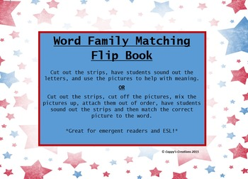 Word Family Matching Flip Book