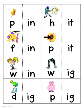 Word Family Matching Game Cards (short i)