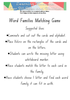 Word Family Matching Game - 11 families - NSW font