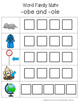 Word Family Activity: Build-a-Word Mats: Long O and U Version