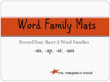 Word Family Mats- Short A