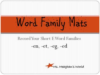 Word Family Mats- Short E