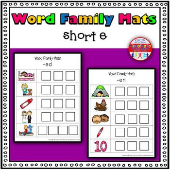 Word Family Activity: Build-a-Word Mats: Short E Version