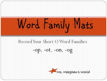 Word Family Mats- Short O