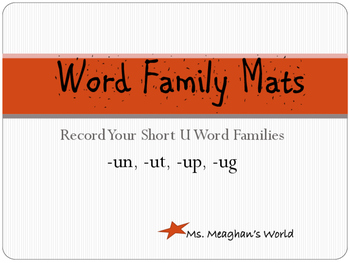 Word Family Mats- Short U