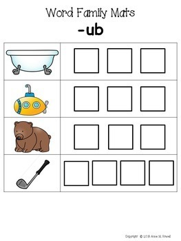 Word Family Activity: Build-a-Word Mats: Short U Version