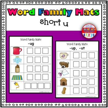 Word Family Activity: Build-a-Word Mats: Short U Version